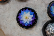 Soap House® Thai Hand-carved Soap Flower, 10cm Scented Soap Carving, Blue Lotus in Decorative Pine Wood Case