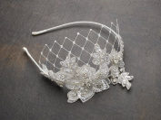 Luxurious Crystal Embellished Lace Floral Wedding Bridal Headband with Veil - Ivory