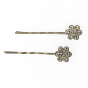 1928 Company Silver Crystal Flower Bobby Pins