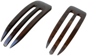JWL (2) Rosewood Three Prong Curved 11cm Hair Stick Pick Pic Pin Fork - Hawaiian Style