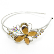 Butterfly silver tone high quality Brown-colour rhinestone crystal flower butterfly headband