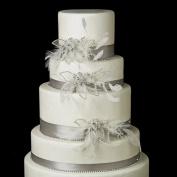 Clear Rhinestone, Feather & Tulle Flower Wedding Cake Decorators