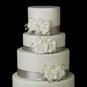 Ivory Freshwater Pearl & Rhinestone Twin Rose Flower Accent Wedding Cake Decorators