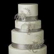 Silver Clear Rhinestone & Crystal Flower Wedding Cake Decorators