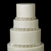 Silver White Floral Rhinestone Satin Ribbon Wedding Cake Decorators