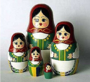 Nesting Doll, Wooden Handmade Matryoshka Russian Doll with Red Babushka