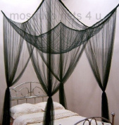 Mosquito Nets 4 U - Black Square Bed Canopy with Gift Bag Fits Up To Super King Size