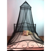 Mosquito Nets 4 U -Black Double Bed Canopy with Decorative Black Beads