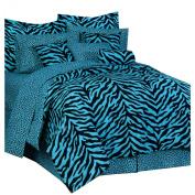 Blue Zebra Complete Bed Set