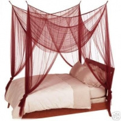OctoRose ® BURGUNDY / MARRON 4 POSTER BED CANOPY MOSQUITO NET FULL QUEEN KING