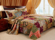 French Country Patchwork Quilted Bedspread Set Oversized King