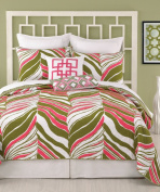 Trina Turk Tiger Leaf Full/Queen Coverlet, 230cm by 230cm , Pink/Green