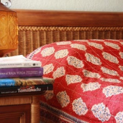 Spice Route ~ Unique Red Orange Luxury Moroccan Quilt Bedspread 108x90