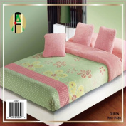 Twin Sage Green Daisies Super Soft Pink Plush / Micro Fibre Reverse Blanket Bedspread Coverlet