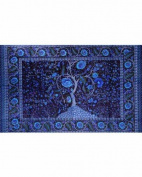 Deep Blue Tree Of Life Indian Bedspread, Double Size