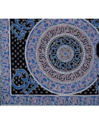 Blue Hindu Indian Bedspread, Double Size
