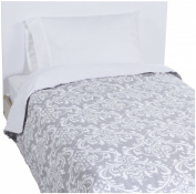 New Arrivals Twin Stella Grey Coverlet - Grey / White
