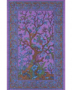 Purple Tree of Life Indian Bedspread, Twin Size