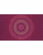 Red Spiral Indian Bedspread, Double Size