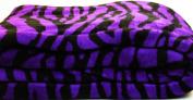 Violet Zebra Super Soft Coral Fleece Blanket Queen 230cm x 190cm