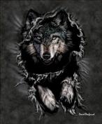 """Wolf Breakout Queen Size Plush Raschel """"Mink"""" Blanket By Penfound"""