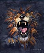 """Lion Breakout Queen Size Plush Raschel """"Mink"""" Blanket By Penfound"""