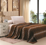 Microplush Leopard Print Blanket 260cm x 220cm Fits Queen-king
