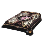 New Solaron King Size Flower Leopard Skin Korean Mink Blanket