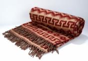Alpaca Burgundy Tan Blanket Reversible Geometric Two Tone Warm, Soft and Light