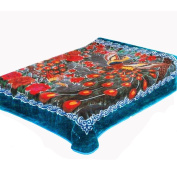 Solaron Peacock Queen Blanket, Blue