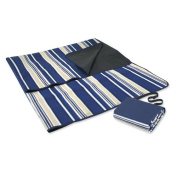 Blanket Tote, Blue Stripe fleece blanket with water resistant backing