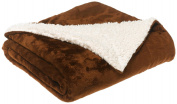 LCM Home Fashions Micromink / Sherpa 130cm by 150cm Throw, Chocolate