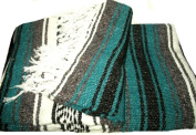 Green Large Authentic Falsa Mexican Yoga Meditaion Blanket 2.1m/1.5m Southwest Rug Throw