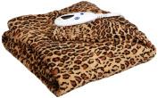 Biddeford 4437-906434-910 Heated MicroPlush Throw, 130cm by 160cm , Leopard