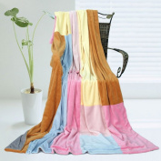 Onitiva - [Spring Breeze] Soft Coral Fleece Patchwork Throw Blanket