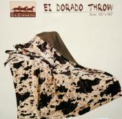 Western Rustic El Dorado Cowprint Throw Blanket