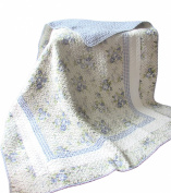 Textiles Plus 100-Percent Cotton Blue Trellis Home Collection Throw