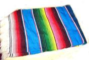 Large Mexican Serape Saltillo Zerape Blanket Burgandy/pink Stripes