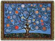 Healing Heart Tree Blue Tapestry Throw Blanket