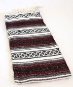 Maroon Burgundy Quality Hand Woven Classic Mexican Premium Yoga SYFT Blanket Large Throw