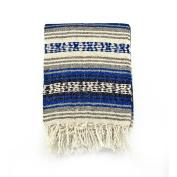 Mexican Blanket Serape colours royal blue, black & white