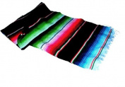 Large Authentic Mexican Saltillo Sarapes Throw Rugs Colourful Blanket Black/pink/blue