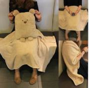 Zuwit 3 in 1 Bear Travel Blanket & Hand Warm & Pillow Set Adults Kids Throw Pillow Cushion