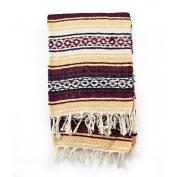 Mexican Blanket Serape colours burgundy, maiz & white