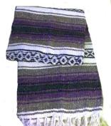 NEW Purple Authentic Mexican Falsa Throw Blanket Rug Yoga Sz 200cm /140cm