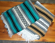 Large Authentic Mexican Falsa Blanket Throw Yoga Mat Reddish Fuchsia/white
