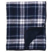 Navy Blue White Plaid Cheque Flannel Premium Blanket or Throw