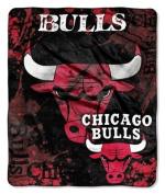 Chicago Bulls 130cm x 150cm Royal Plush Raschel Throw Blanket - Drop Down Design