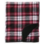 Maroon Black White Plaid Flannel Premium Blanket or Throw