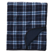 Navy Blue Columbia Blue Plaid Cheque Flannel Premium Blanket or Throw